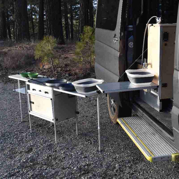 Sprinter Modular Van Kitchen with Camp Kitchen Oustside