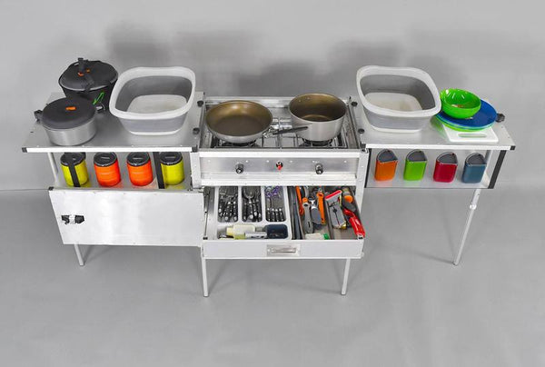 Camp Kitchen with Gear - Drawer Open for Display - Not all Items Included