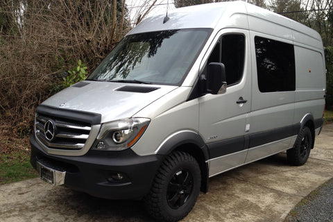 Front bug shield installed on Sprinter van