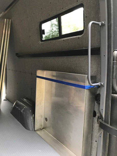 Sprinter shower kit stored