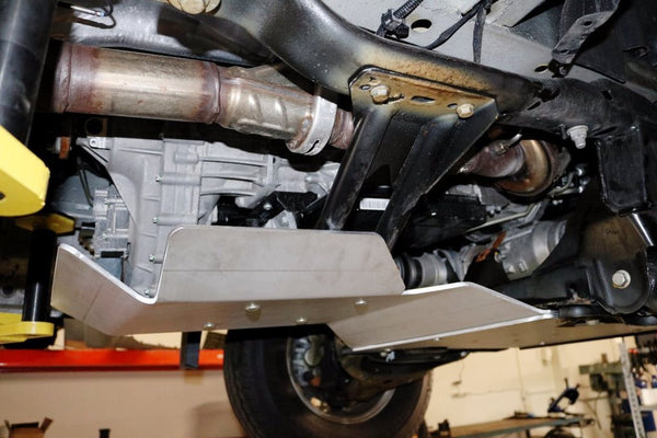 Side view of Sprinter 4wd trans and transfer case skid plate
