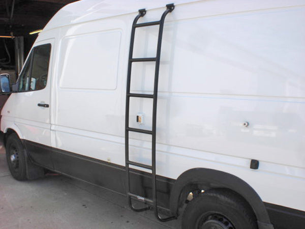 Sprinter ladder installed on drivers side close view