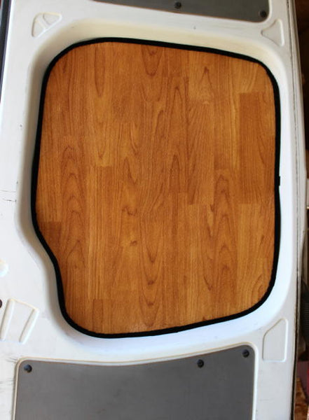 Sprinter cargo van rear door window insulation panel in light wood