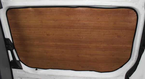 Sprinter slider door insulation panel in dark wood R-10