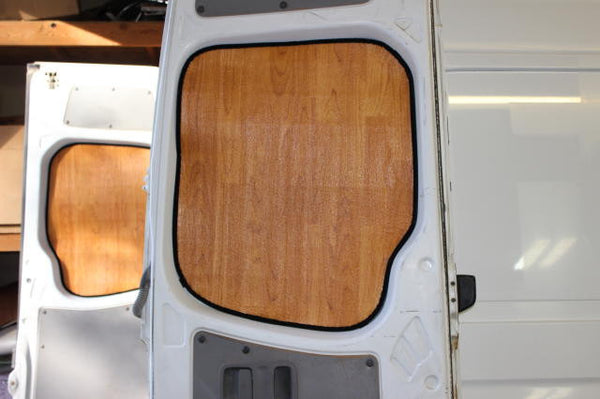 Sprinter cargo van rear door window insulation panels in lt wood