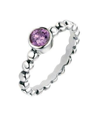 Elements Silver Sterling Silver Amethyst CZ Ring with Ball Shank sTD71k4