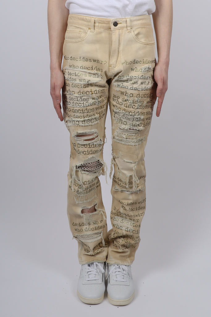 Who Decides War WHO DECIDES WAR Rhinestone Denim In Beige