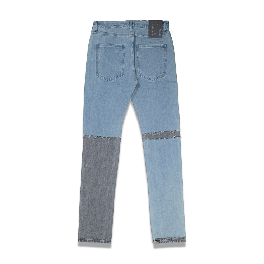 Slim Fit Double Destroyed Denim Pants In Lt Blue - CNTRBND
