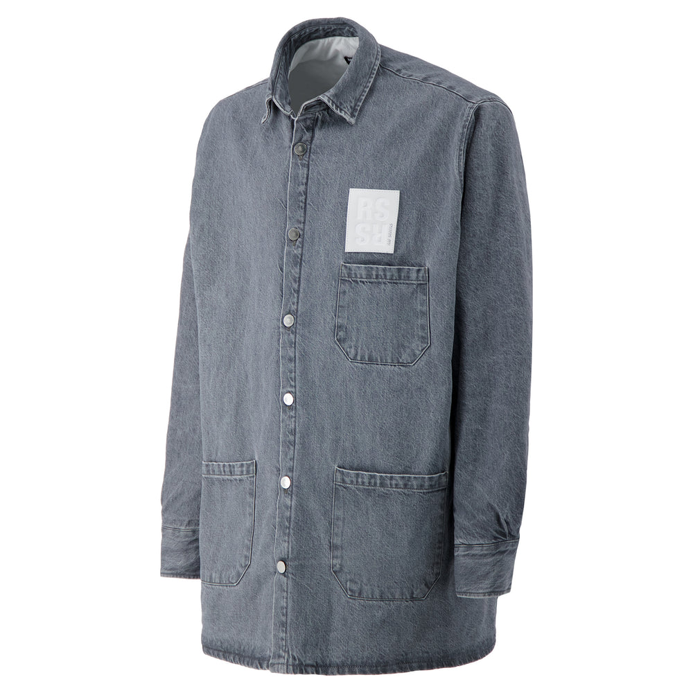 Padded Big Fit Denim Shirt In Dark Grey