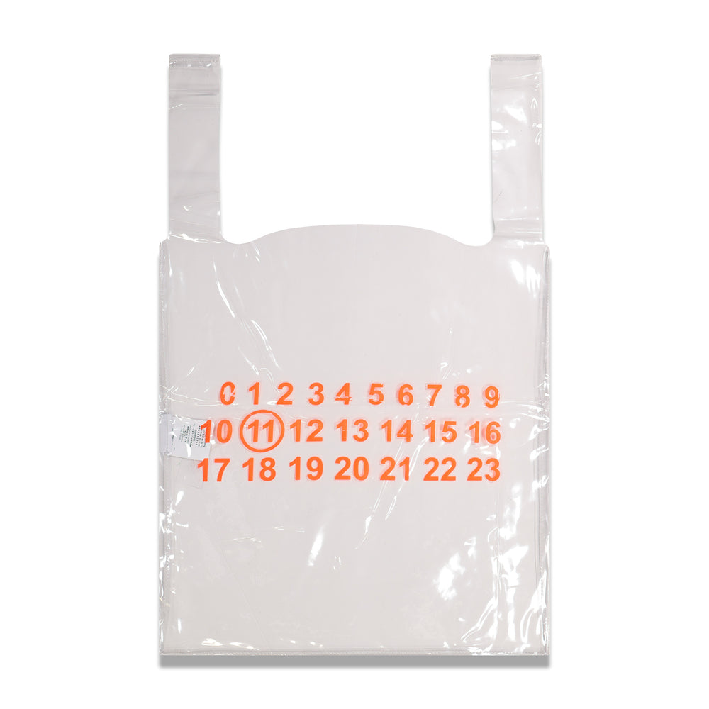 Maison Margiela Orange Logo Shopping Tote In Transparent