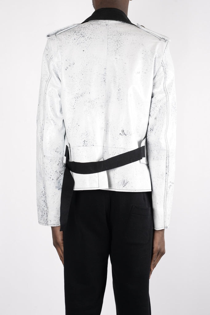 Ann Demeulemeester Cawston Leather Jacket In Black/White