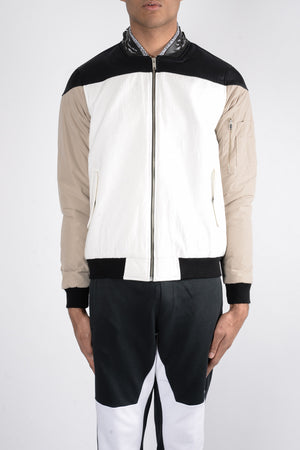 Load image into Gallery viewer, Les Benjamins Kaden Bomber Jacket In White - CNTRBND