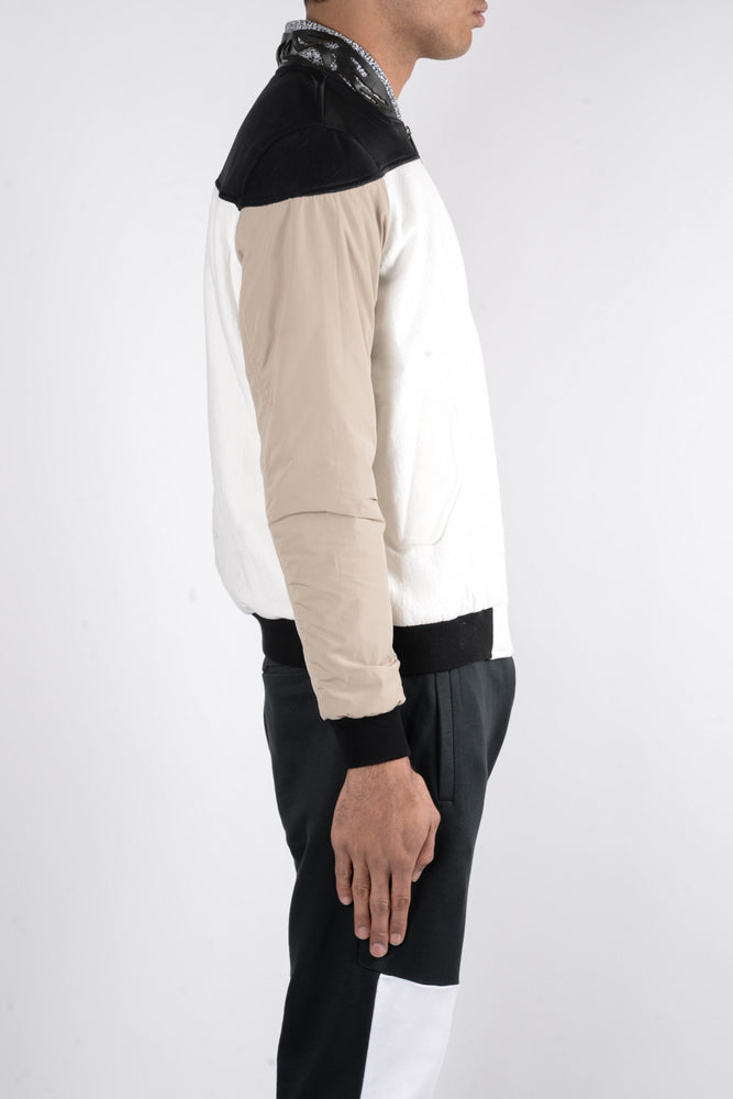 Load image into Gallery viewer, Les Benjamins Kaden Bomber Jacket In White