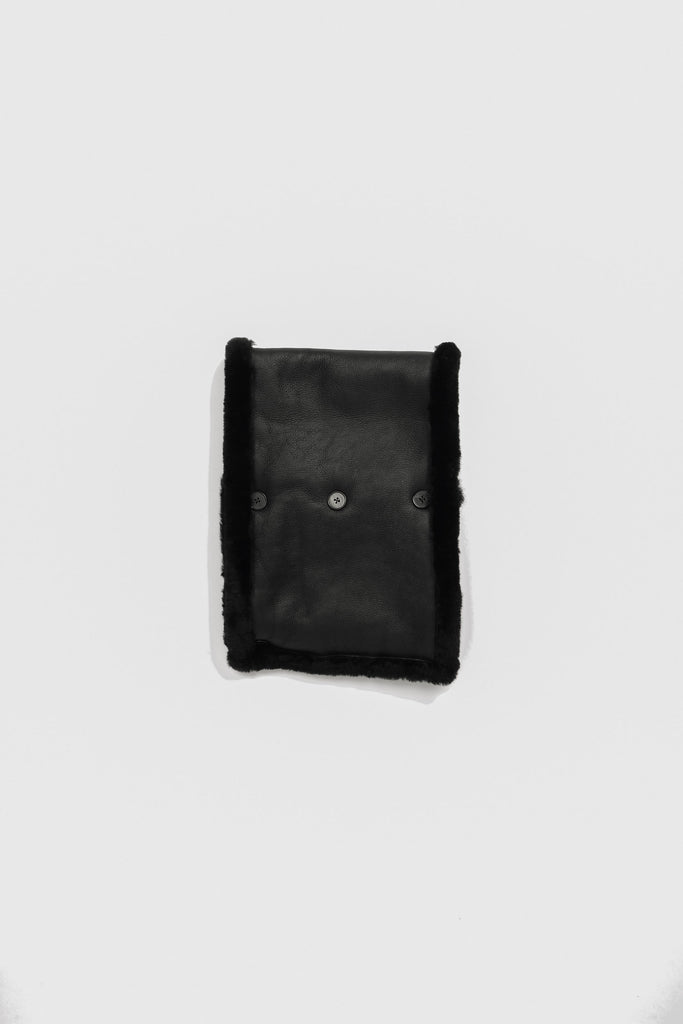Jil Sander Leather Reversible Collar In Black
