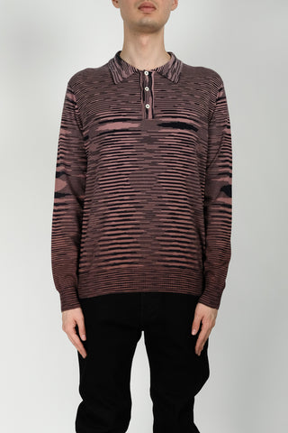 Missoni Stripe Knit Polo In Purple