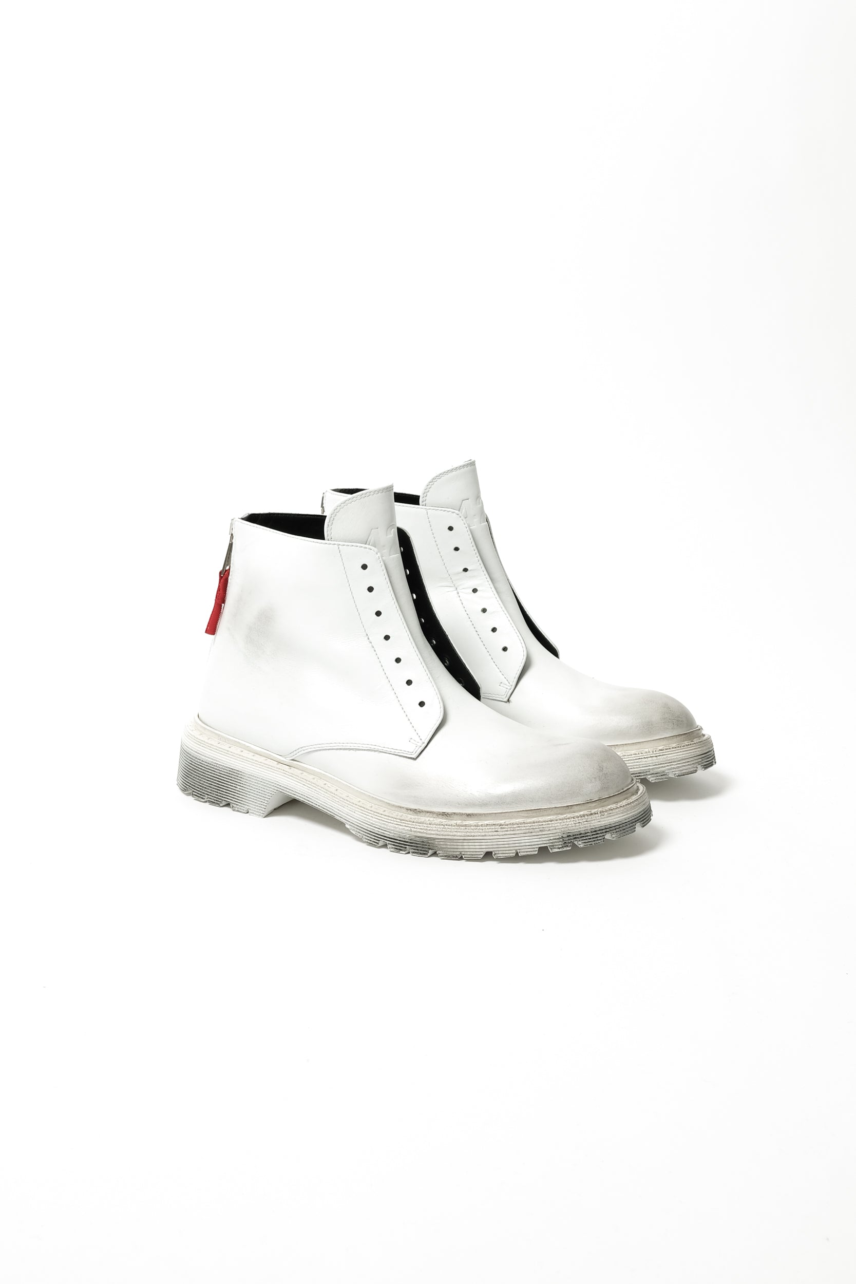 92254acc5044 424 High Top Distressed Lace Less Boots In White – CNTRBND