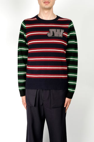 JW Anderson Fairisle Logo Intarsia Crew Neck In Black