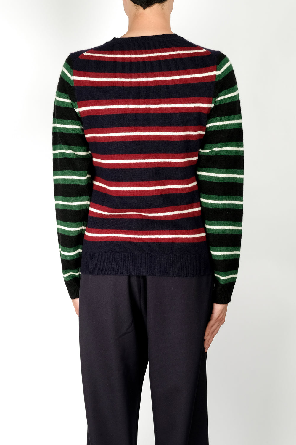 JW Anderson Logo Patch Stripe Jumper In Navy