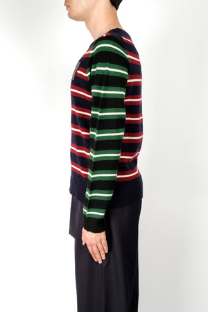 Load image into Gallery viewer, JW Anderson Logo Patch Stripe Jumper In Navy