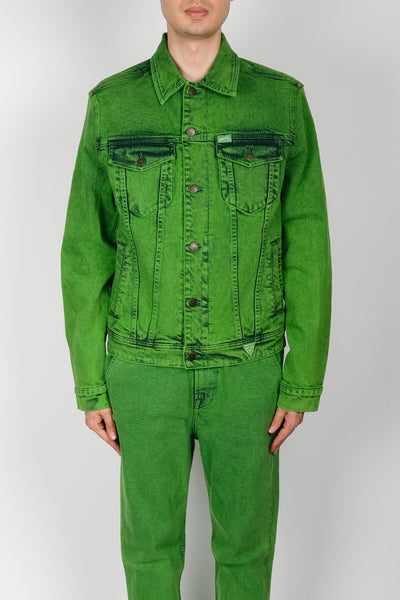 GUESS Oversized Indigo Color Acid Wash Jacket In Green