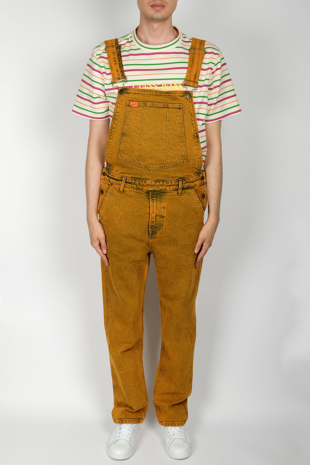GUESS Indigo Color Acid Wash Overall In Orange