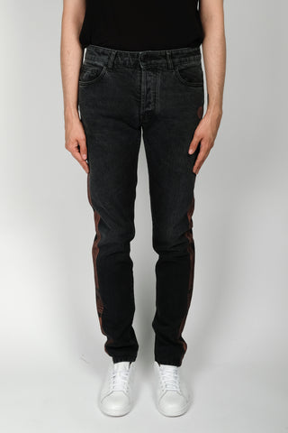 424 Paisley Detailing Denim Pant In Black