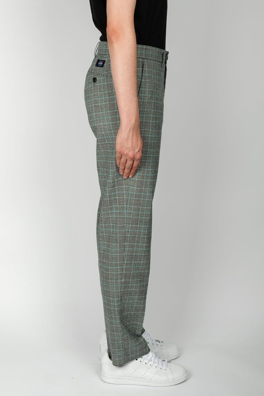 CHILDS Check False Hem Pant In Aqua