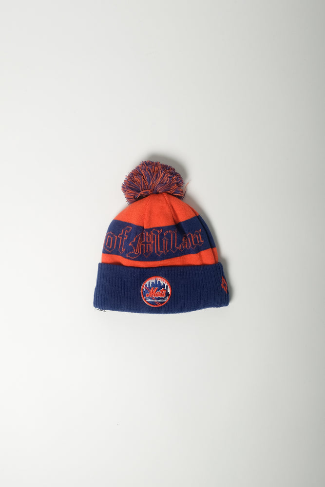Marcelo Burlon X New Era NY Mets Pom Pom Beanie In Orange - CNTRBND