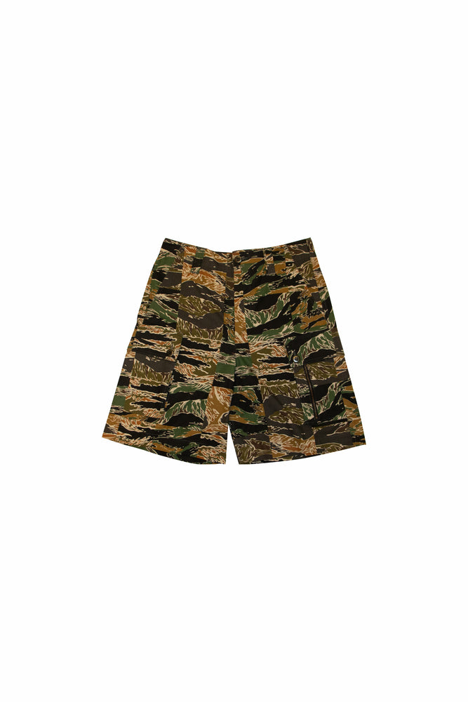 Dries Van Noten Plexi Camo Shorts In Kaki