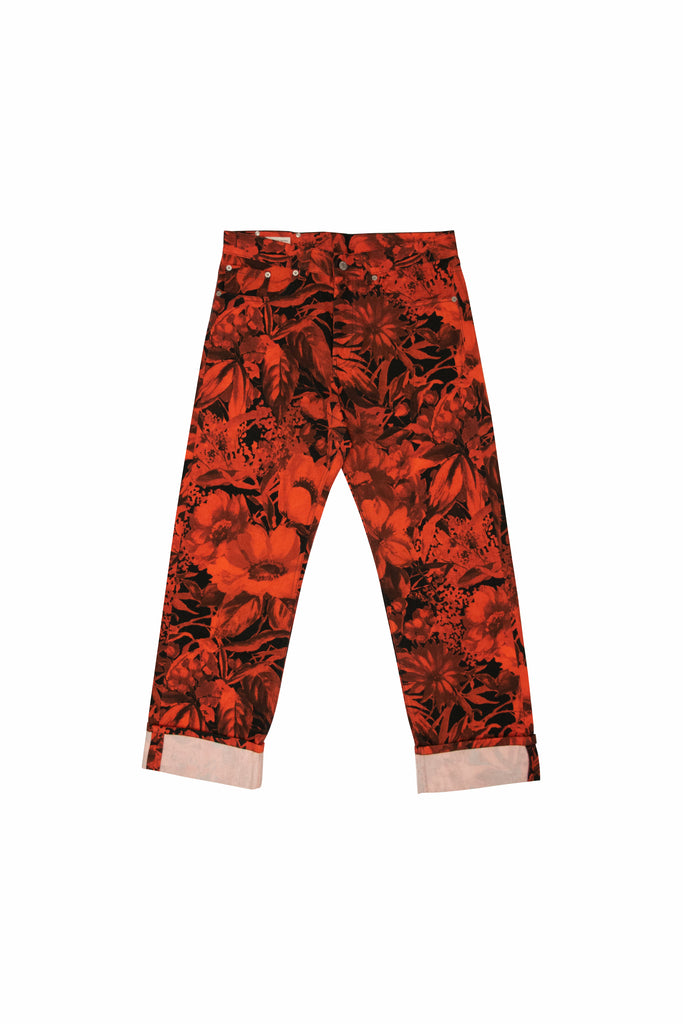 Dries Van Noten Panthero Floral Jeans In Red