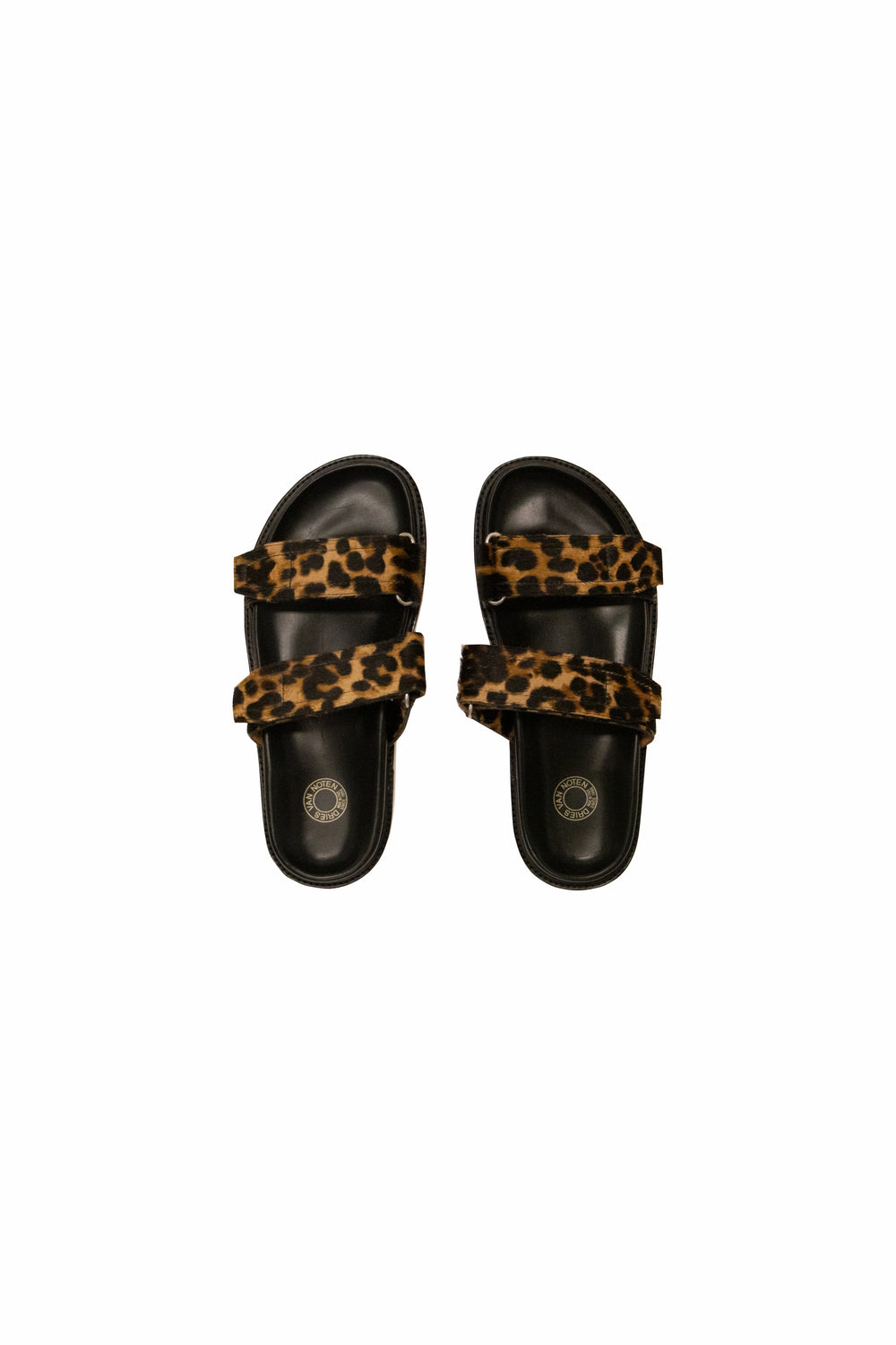 Dries Van Noten Cheetah Sandals In Black