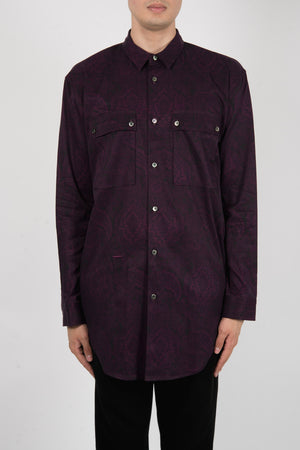 Robert Geller The Paisley Cupro Field Shirt In Purple - CNTRBND