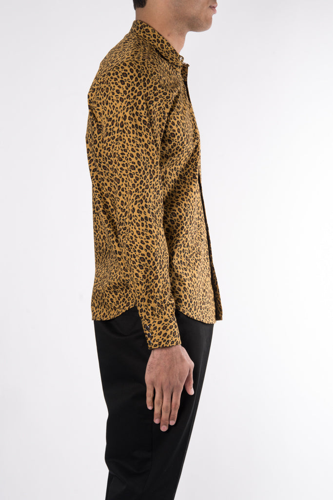 Herman Market Cotton Leopard Shirt In Gold