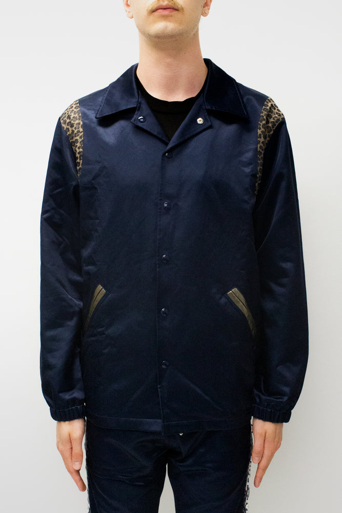 JUST DON Reversible Varsity Coaches Jacket In Navy