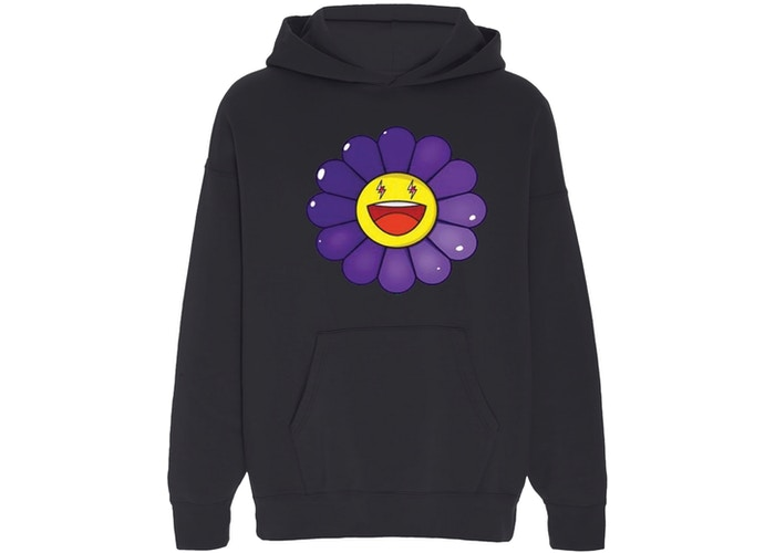 Balvin X Murakami Morado Large Flower Hoodie In Black