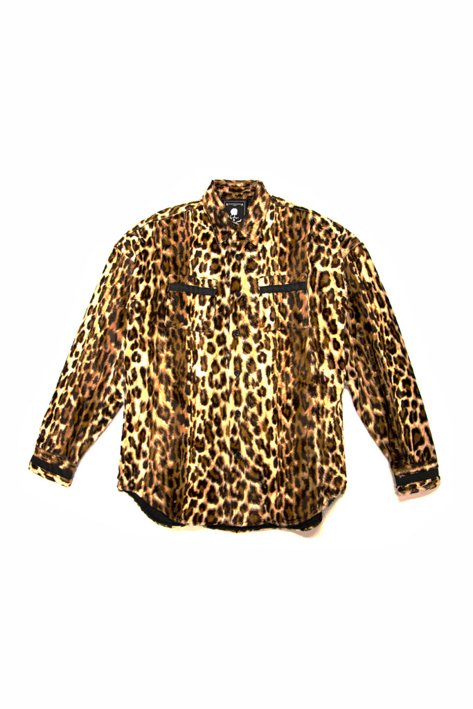Mastermind World Leopard Rayon Shirt Jacket In Brown