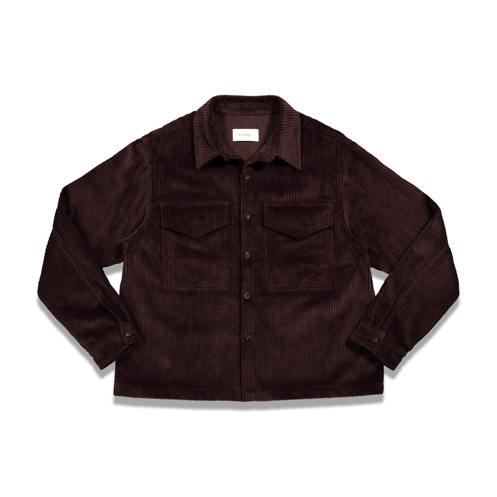 Second Layer Velluto Cord Overshirt In Cocoa