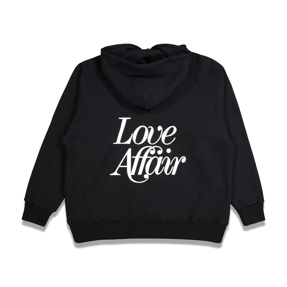 Second Layer Love Affair Serif Raglan Hoodie In Black