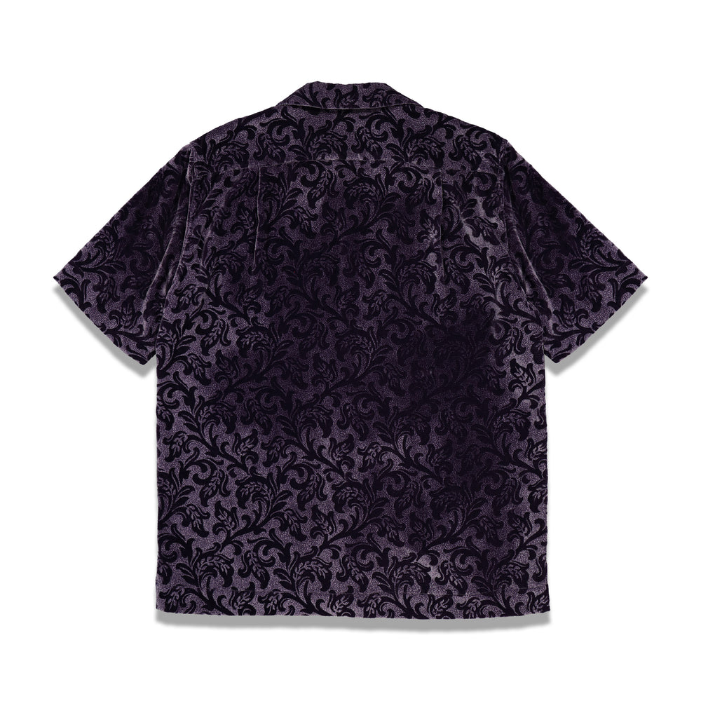 Dries Van Noten Carltone Tris Floral Velour Shirt In Purple