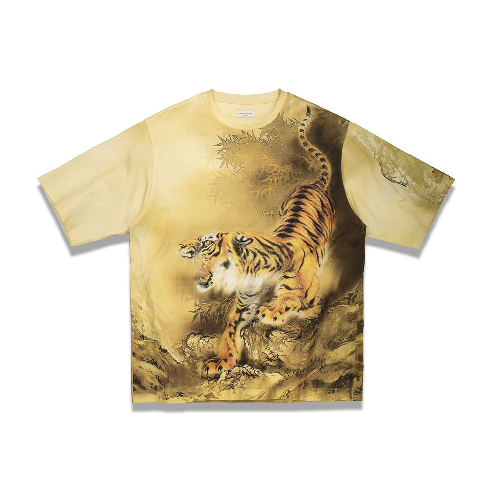 Load image into Gallery viewer, Dries Van Noten Hanny Tiger Print T-Shirt In Camel