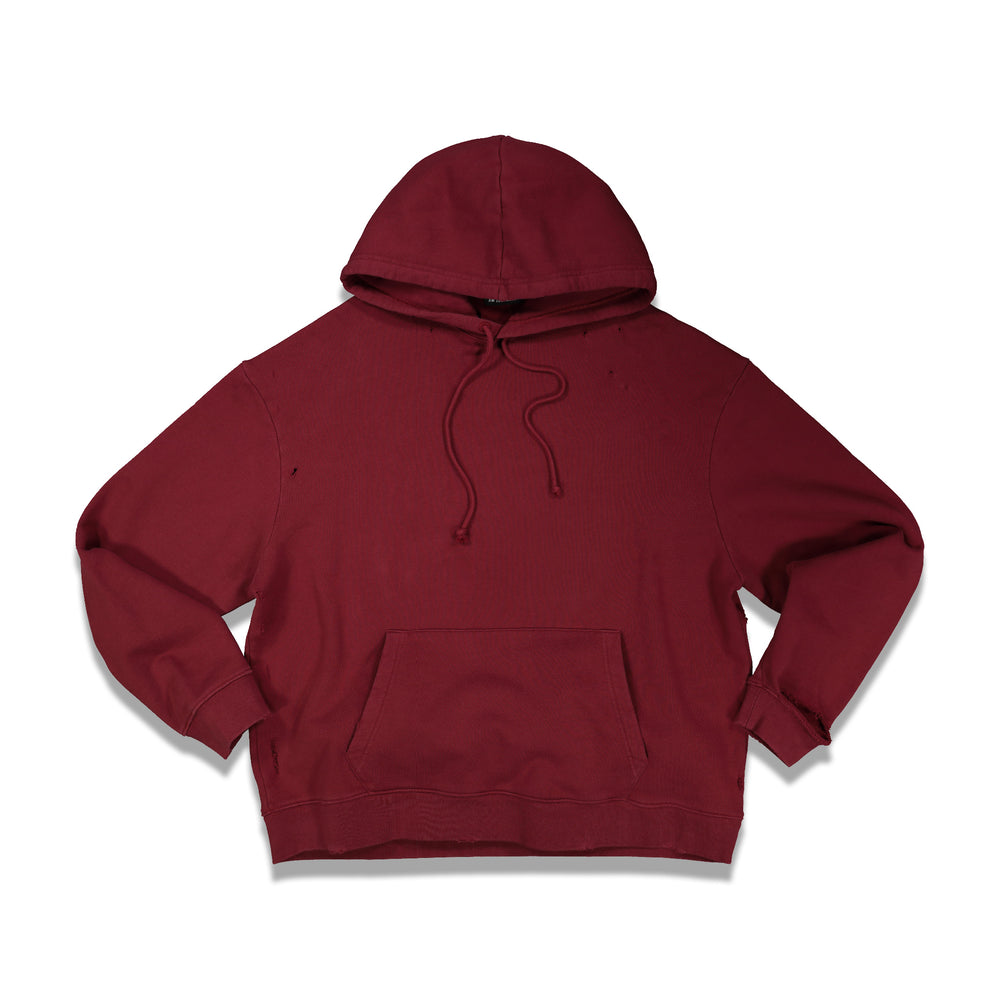 Regular Fit Printed Hoodie In Burgundy