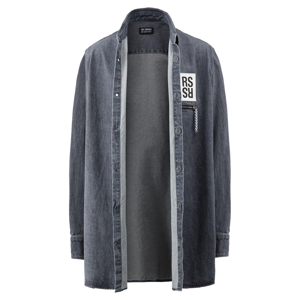 Load image into Gallery viewer, Zipped Pocket Big Fit Denim Shirt In Grey
