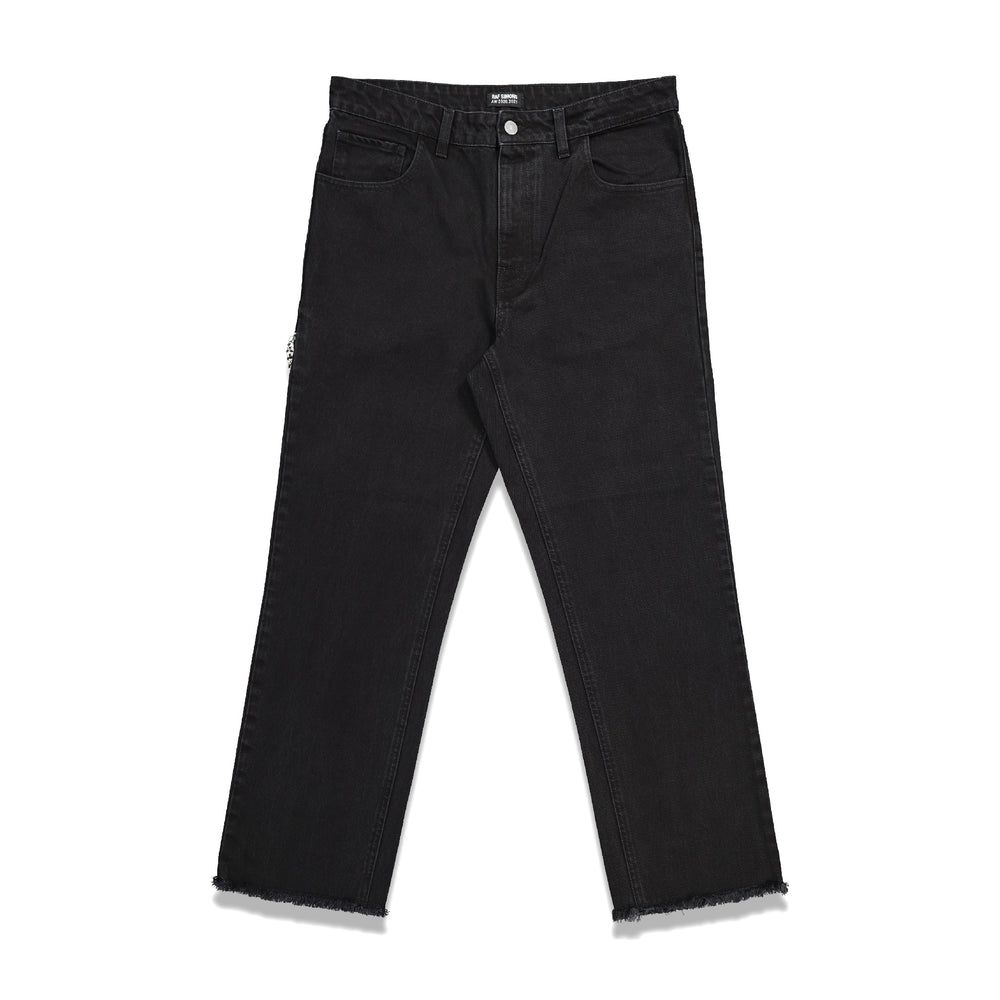 Zipped Pocket Cropped Denim Pants In Black - CNTRBND