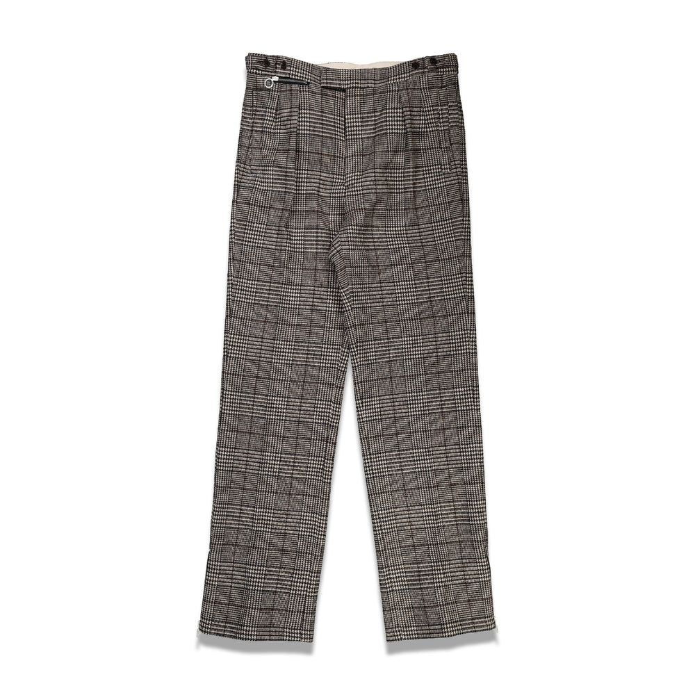 Ankle Zips Wide Fit Pants In Black/Ecru Check - CNTRBND