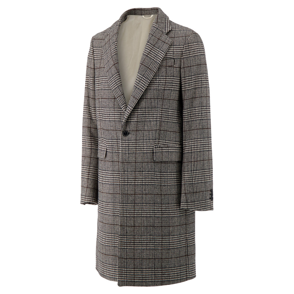 Slim Fit Single Breasted Coat In Black/Ecru Check - CNTRBND