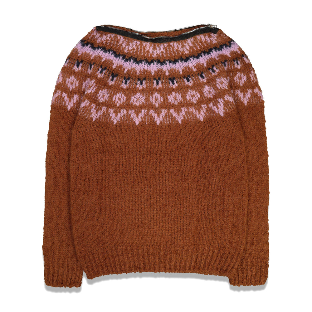 Zip Roundneck Jacquard Sweater In Rust