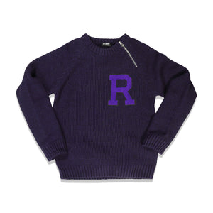 Load image into Gallery viewer, Letter Badge Raglan Sweater In Purple - CNTRBND