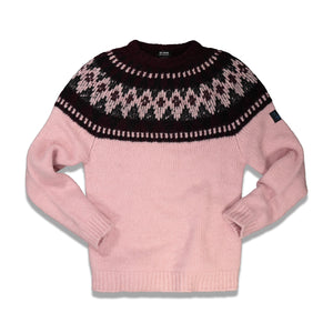 Label Roundneck Jacquard Sweater In Pink