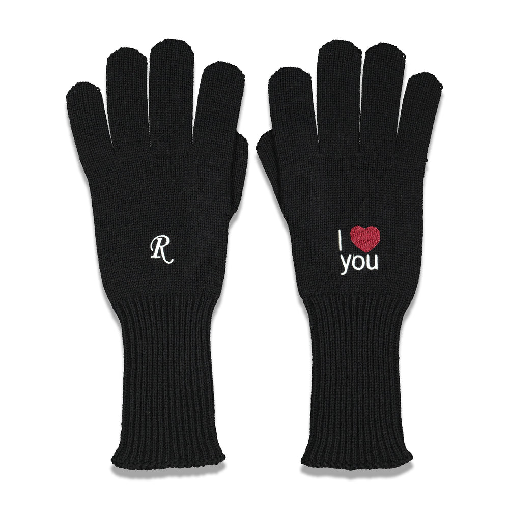 I Love You Knitted Gloves In Black