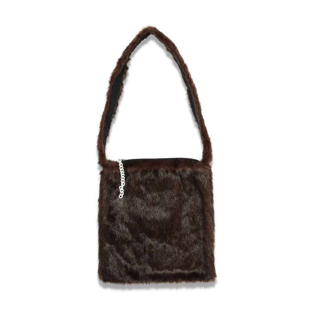 Imitation Fur Tote Bag In Dk Brown